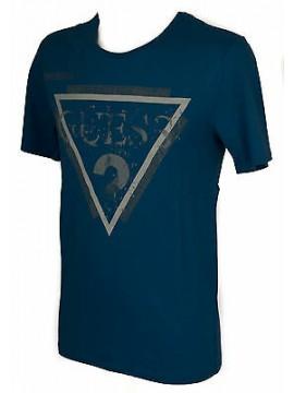 T-shirt maglietta girocollo uomo GUESS a. M54I00 taglia XS col. G743 PETROL BLUE