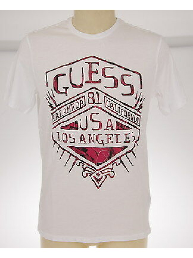 T-shirt maglietta girocollo uomo GUESS art.M42I02 JA900 T.M c.009 BIANCO cotone