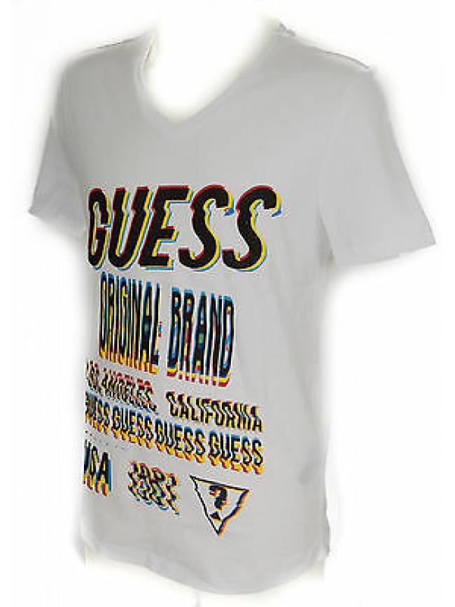 T-shirt maglietta scollo V uomo GUESS a. F62I12 taglia L c. A009 WHITE BIANCO