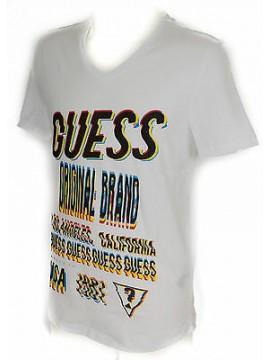 T-shirt maglietta scollo V uomo GUESS a. F62I12 taglia M c. A009 WHITE BIANCO