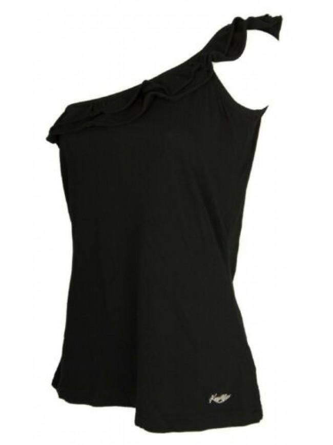 Top t-shirt monospalla canottiera canotta donna cotone KEY-UP articolo 5154S