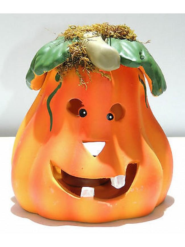 Zucca in ceramica coccio con candela halloween art.8101-2